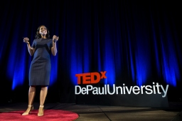 """Kelly Richmond Pope presents her talk """"Why do we Hate Whistle-Blowers?"""" at TEDxDePaulUniversity Tuesday, April 18, 2017, in the Lincoln Park Student Center. TEDxDePaulUniversity is an independently run, self-organized event. Through the theme """"Courage to Connect"""" 10 speakers from across the DePaul community challenged thoughts and inspired ideas through a series of engaging talks and presentations. (DePaul University/Jeff Carrion)"""