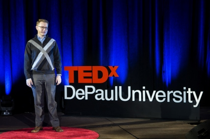 """Tom Rietz presents his talk """"I grew up in poverty. Here's why I recognize my white privilege"""" at TEDxDePaulUniversity Tuesday, April 18, 2017, in the Lincoln Park Student Center. TEDxDePaulUniversity is an independently run, self-organized event. Through the theme """"Courage to Connect"""" 10 speakers from across the DePaul community challenged thoughts and inspired ideas through a series of engaging talks and presentations. (DePaul University/Jeff Carrion)"""