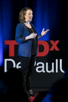 """Julia DiGangi presents her talk """"The Art and Science of Suffering"""" at TEDxDePaulUniversity Tuesday, April 18, 2017, in the Lincoln Park Student Center. TEDxDePaulUniversity is an independently run, self-organized event. Through the theme """"Courage to Connect"""" 10 speakers from across the DePaul community challenged thoughts and inspired ideas through a series of engaging talks and presentations. (DePaul University/Jeff Carrion)"""