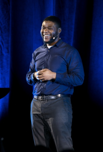 """Jameson Dixon, Jr. presents his talk """"The Power of Self-Connection"""" at TEDxDePaulUniversity Tuesday, April 18, 2017, in the Lincoln Park Student Center. TEDxDePaulUniversity is an independently run, self-organized event. Through the theme """"Courage to Connect"""" 10 speakers from across the DePaul community challenged thoughts and inspired ideas through a series of engaging talks and presentations. (DePaul University/Jeff Carrion)"""