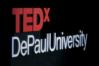 """TEDxDePaulUniversity Tuesday, April 18, 2017, in the Lincoln Park Student Center. TEDxDePaulUniversity is an independently run, self-organized event. Through the theme """"Courage to Connect"""" 10 speakers from across the DePaul community challenged thoughts and inspired ideas through a series of engaging talks and presentations. (DePaul University/Jeff Carrion)"""