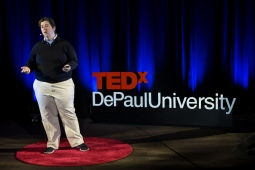 """Elisabeth """"Biz"""" Lindsay-Ryan presents her talk """"Why we Need to Talk to our Children about Race and Difference"""" at TEDxDePaulUniversity Tuesday, April 18, 2017, in the Lincoln Park Student Center. TEDxDePaulUniversity is an independently run, self-organized event. Through the theme """"Courage to Connect"""" 10 speakers from across the DePaul community challenged thoughts and inspired ideas through a series of engaging talks and presentations. (DePaul University/Jeff Carrion)"""